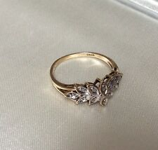 ESTATE GENUINE DIAMOND COCKTAIL RING 10K YELLOW GOLD SIZE 8