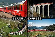 SOUVENIR FRIDGE MAGNET of THE BERNINA EXPRESS TRAIN SWITZERLAND