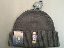 Polo Ralph Lauren Polo Bear Hat Beanie Weekend Bear Flag NWT POLO BLACK