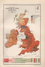1904 ANTIQUE MAP BRITISH ISLES CAMPARATIVE VALUATION OF LANDS
