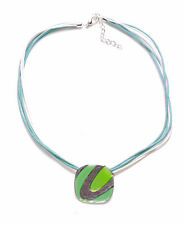 NEW FUNKY & MODERN STYLE GREEN NECKLACE, SQUARE PENDANT & MULTI ROW CORD(ZX50)