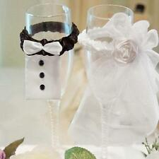 BRIDE & GROOM Party Wedding Wine Glasses Cup Lace Toasting Cover Decoration LG