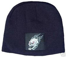 FLAME SKULL EMBROIDERED SKELETON BEANIE BIKER KNIT HAT Shorty Cap Flaming FIRE