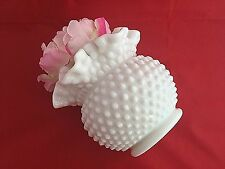 Fenton Milk Glass Hobnail Round Floral Vase Vintage White Glass 5.5 inches
