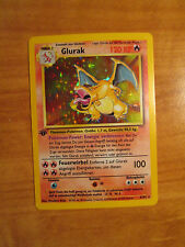 GERMAN 1st edition GLURAK Charizard Pokemon Card BASE Set 4/102 Rare Holo 120 KP