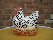"CHICKEN ROOSTER 9"" STATUE FIGURINE NESTING HEN BASKET CHICK EGG Country CBK"
