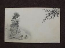 DRAWING OF YOUNG GIRL HOLDING PUSSY WILLOWS & BABY CHICKS ON THE GROUND POSTCARD