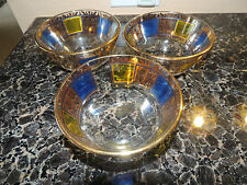 3 Vintage Culver 5 1/4 blue and  Gold  Bowl - SIgned - Excellent beautiful