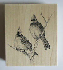 "Cardinals Birds Wood Mnt Rubber Stamp Impression Obsession NEW Cardinal 4""X4.75"""