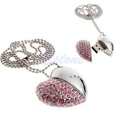 Diamond Heart 8G USB 2.0 Memory Stick Storage Flash Pen Drive U Disk Chain Pink