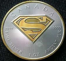 2016 Canadian Superman 24k Gold Gilded  1oz .9999 pure Silver Coin 324