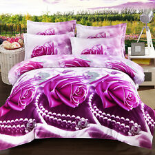 Purple Rose Queen Size Bed Quilt/Doona/Duvet Cover Set New Pillow Cases Necklace