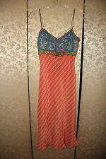 Anthropologie PLENTY Chambray Blue Red Multi-Color Embroidered Boho Slip Dress L