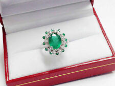 3.72Ct Genuine Natural Emerald And Diamond Ring Solid 14K White Gold, Oval Shape