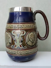 RARE DOULTON LAMBETH THREE KINGS JUG SILVER RIM CHESTER 1901 KING EDWARD VII