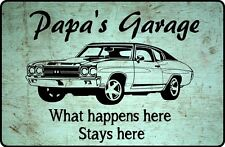 Vintage Wooden Sign Papa's Grandpa's Dad's Garage What happens here Father's Day