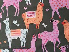 By 1/2 Yard ~ Michael Miller Fabric Llamas Packmates Coin ~ pink gray zoo animal
