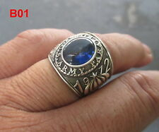 Beautiful Men US Army 1972 Rings , 925 Sterling Silver ,  Sapphire , size 7-13