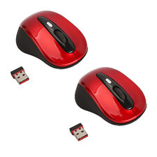 Lot2 New 2.4G Wireless Optical Mouse/Mice Red + Mini USB Receiver for PC