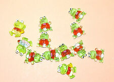12 Plastic Frogs (hand painted) Card Topper Embellishments