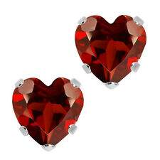 1.10 Ct Heart Shape Red Garnet 14K White Gold 5-prong Stud Earrings 5mm