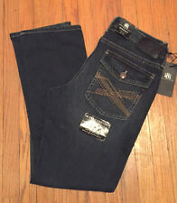 NWT $88 ROCK & REPUBLIC STRAIGHT FIT DIRTY DEEDS BLUE JEANS FLAP POCKET 34x34