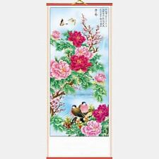 CHINESE WALL HANGING SCROLL, BIRDS & FLOWERS, 82cm LENGTH, FREE UK P&P