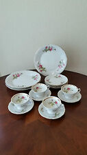 Vintage Wawel Poland Moss Rose China Dinnerware Service For 4 / 16 Pieces