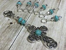 Victorian Cross And Turquoise Stitch Marker Set For Knitting- Handmade