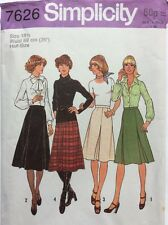 """Simplicity 7626 Vintage 70s Skirt Pattern with Inverted Pleats Waist 35 Hips 43"""""""