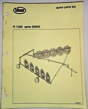 Vicon H 1350 H1350 Series 59005 Fingerwheel Rake Parts Catalog Manual book