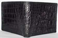 GENUINE CROCODILE SKIN LEATHER MENS BELLY-BACKBONE BI FOLD BLACK WALLET NEW