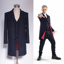 Doctor Who 12th Dr. Dark Blue Frock Coat + Vest Set Costume  Custom Made