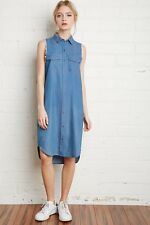 NWT New Forever 21 Denim Frayed Midi Button Down Shirt Dress Blue Small S