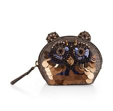 MONSOON ACCESSORIZE EMBELLISHED OWL ZIP TOP PURSE NEW!