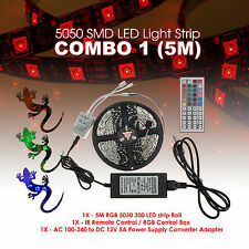 5M 5050SMD RGB 300 LED Strip Light Kit w/ 44 Key Remote 2 Outlet 5A Power Combo
