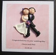 wedding day congratulations card / keepsake personalised by Hot Dough Creations