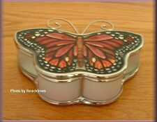 QUEEN BUTTERFLY JEWELRY BOX HEART SHAPED HANDPAINTED GLASS BY AMIA FREE SHIPPING