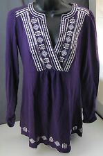 Adobe Star, Small, Aubergine Long Sleeve Top, New with Tags