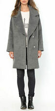 GREY MERINO WOOL MIX LINED COAT BY SOFT GREY SIZE 6 UK (EU 34)