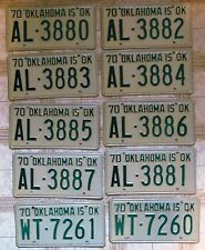 BULK LOT of 10 Oklahoma 1970 License Plates