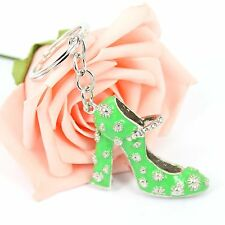 Green High-Heel Shoe Cute New Creative Crystal Pendant Charm Key Chain Ring Gift