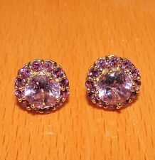 BEAUTIFUL SECONDHAND QVC 9ct GOLD AMETHYST STUD EARRINGS FOR PIERCED YEARS