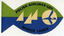 POLISH AIRLINES ~MASURIAN LAKES - POLAND~ Great Die-cut FISH Luggage Label, 1960