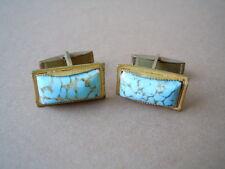 Alte goldfarbene Modeschmuck Manschettenknöpfe mit hellblauen Glas Steinen 8,8 g