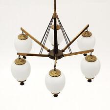 Lampadario anni '50 ottone e vetro, nello stile Arredoluce, 50s brass chandelier