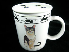 Cat Coffe Tea Mug with Lid Cat Lovers Limited Collection White and Brown