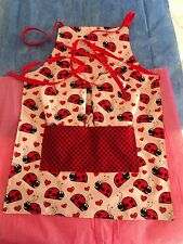 Children's LADY BUGS - Two Oven Mitts & Apron, Red & White, Quilted, 100% Cotton