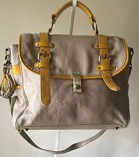 Pilcro and The Letterpress Gray Pebble Leather/Yellow Patent Messenger Handbag