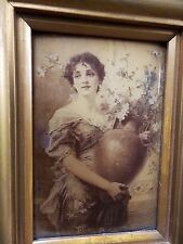 Charming Antique Victorian Crystoleum Beautiful Lady Portrait Carrying Flowers.